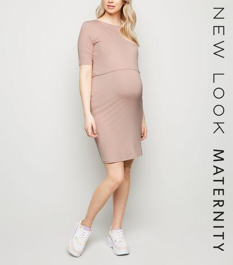 344302dd559 ... Maternity Pale Pink Layered Nursing Midi Dress ...