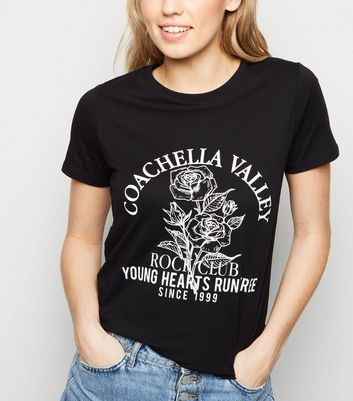 Black Coachella Rock Slogan Rock T-Shirt
