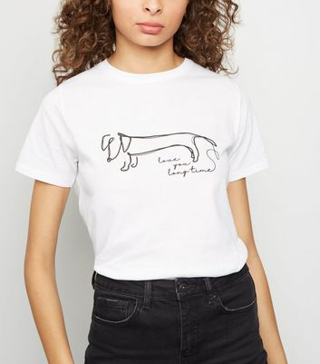 White Line Drawn Sausage Dog T-Shirt