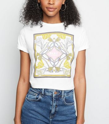 White Paris Chain Print Cotton T-Shirt
