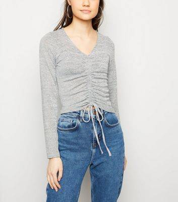 Pale Grey Ruched Front Fine Knit Top
