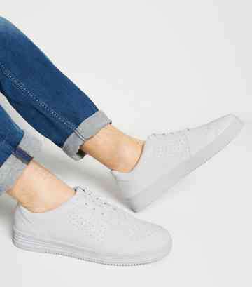 White Leather-Look Perforated Lace-Up Trainers