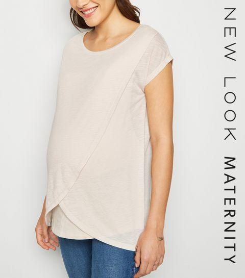 68ec49fc85d7a ... Maternity Stone Marl Nursing Wrap T-Shirt ...