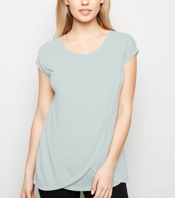 Maternity Mint Green Marl Nursing Wrap T-Shirt