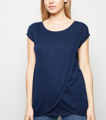 Maternity Navy Marl Nursing Wrap T-Shirt