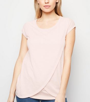 Maternity Pink Marl Nursing Wrap T-Shirt