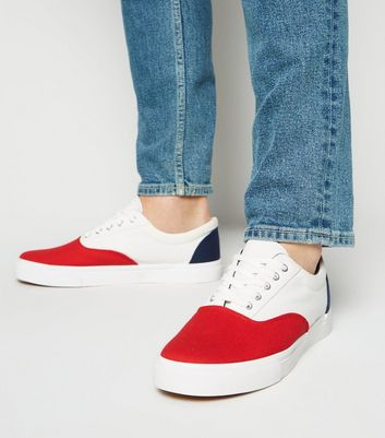 White Canvas Colour Block Trainers