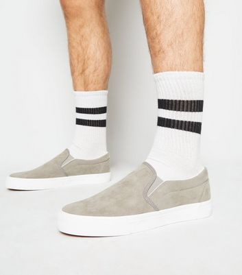 Grey Suedette Slip On Trainers
