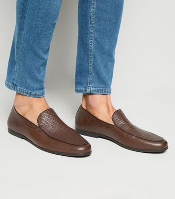 Dark Brown Leather-Look Woven Loafers