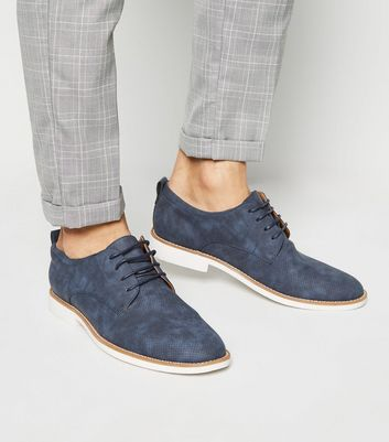 Navy Leather-Look Lace Up Derby Shoes