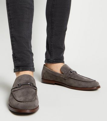 Grey Suedette Metal Bar High Vamp Loafers