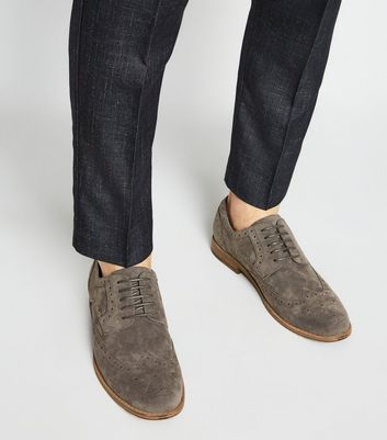 Dark Grey Suedette Lace Up Brogues