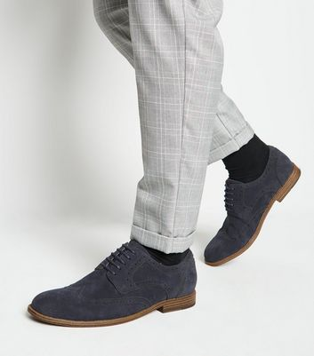 Navy Suedette Lace Up Brogues