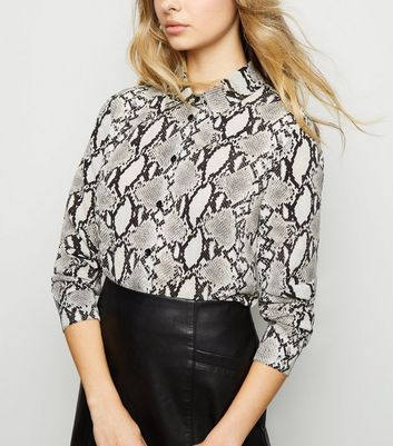 Light Grey Snake Print Long Sleeve Shirt
