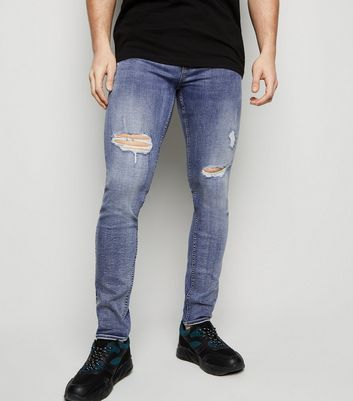 Blue Mid Wash Ripped Skinny Stretch Jeans