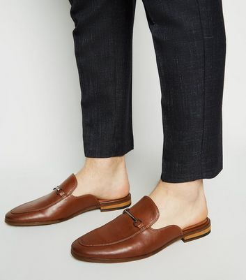 Tan Leather-Look Metal Bar Loafers