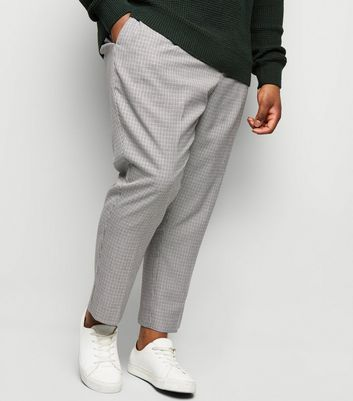 Plus Size Black Houndstooth Check Trousers