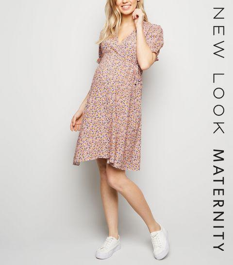 12e9da3f2d ... Maternity Pink Floral Frill Hem Wrap Dress ...