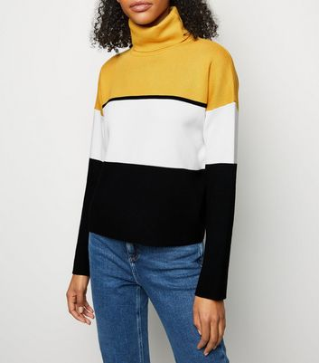 Mustard Colour Block Roll Neck Jumper