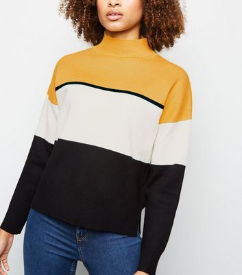 Yellow Colour Block High Neck Jumper