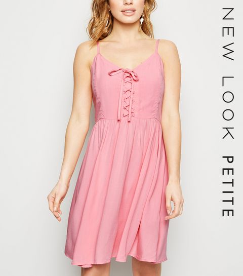 25b07e20564a ... Petite Mid Pink Lace Up Mini Dress ...