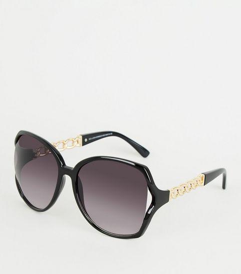 32e94702ed ... Black Chain Detail Side Oversized Sunglasses ...