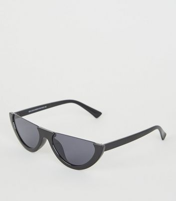 Black Rimless Flat Top Cat Eye Sunglasses