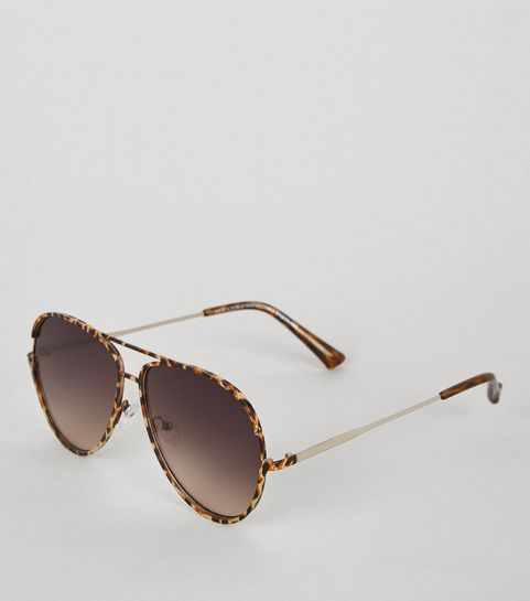 05241fa9ed6 ... Dark Brown Animal Print Round Pilot Sunglasses ...