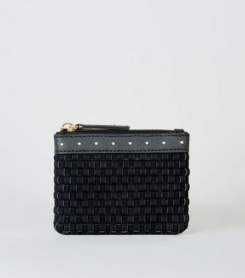 8e6e142782 ... Black Woven Zip Top Coin Purse ...