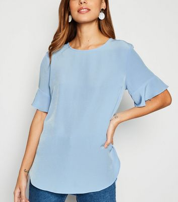 Pale Blue Frill Sleeve T-Shirt