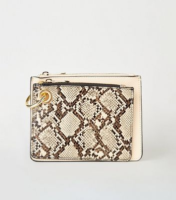 Cream Faux Snake Zip Coin Purse