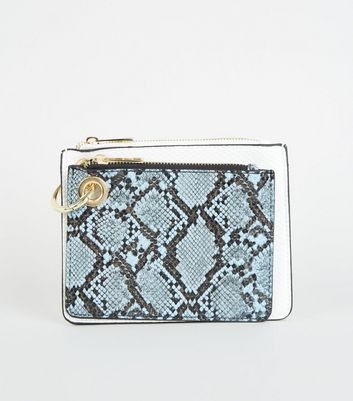 Pale Blue Faux Snake Zip Coin Purse