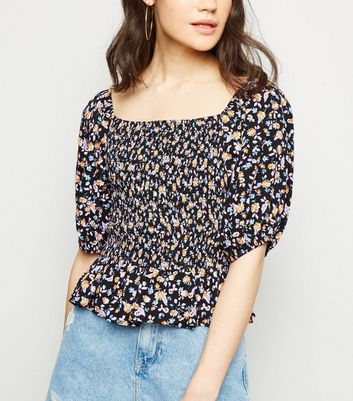 Black Ditsy Floral Shirred Square Neck Top
