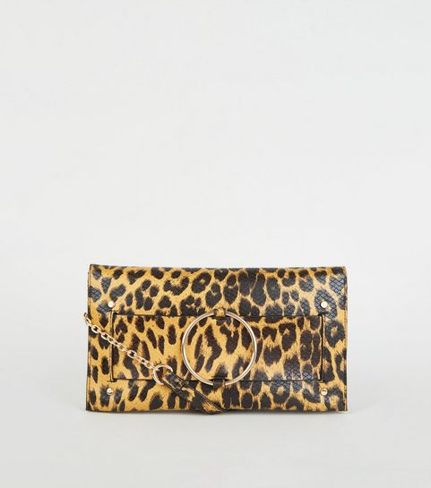 35b1a9c119 ... Black Leopard Print Faux Snake Clutch ...