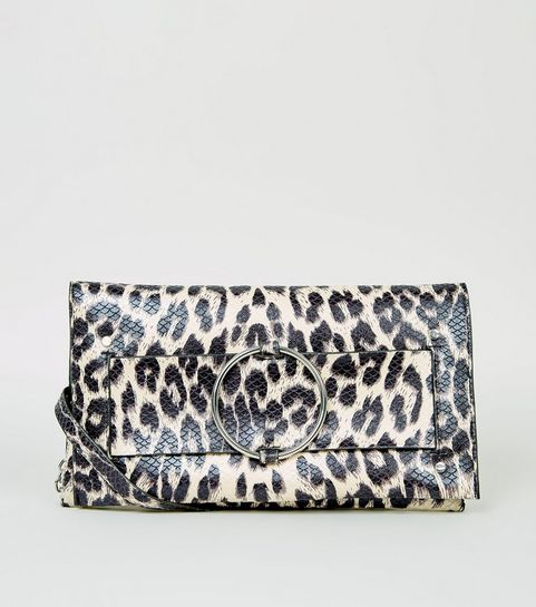 937520251a7e ... Brown Leopard Print Faux Snake Clutch ...