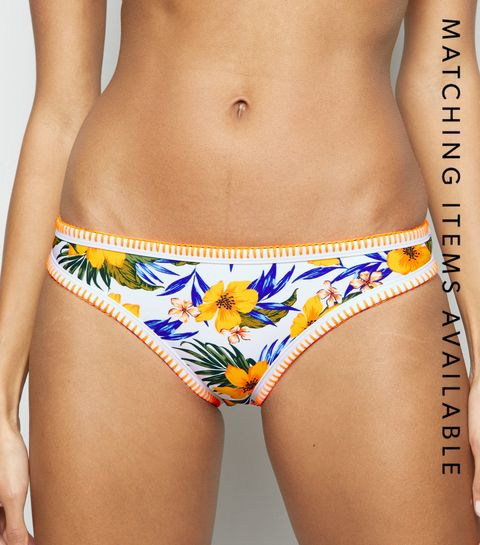 9f9a0eb9804 ... Yellow Tropical Floral Hipster Bikini Bottoms ...