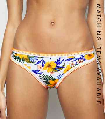 Yellow Tropical Floral Hipster Bikini Bottoms