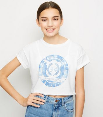 Girls White Tie Dye Circle Slogan T-Shirt