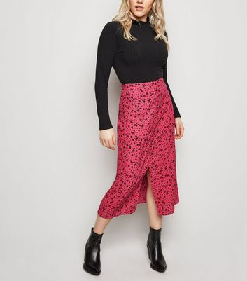 Petite Bright Pink Button Front Floral Midi Skirt