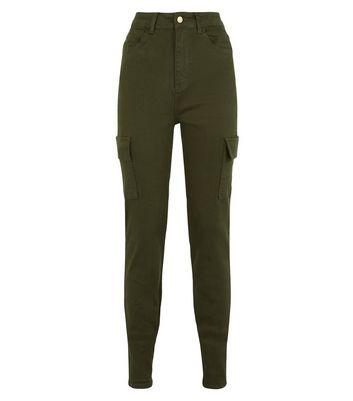 shop for Tall Khaki Denim Slim Leg Cargo Trousers New Look at Shopo
