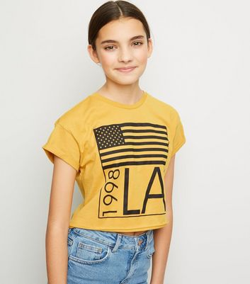 Girls Mustard LA Slogan American Flag T-Shirt