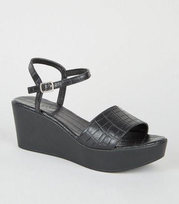 Black Faux Croc 2 Part Flatform Sandals