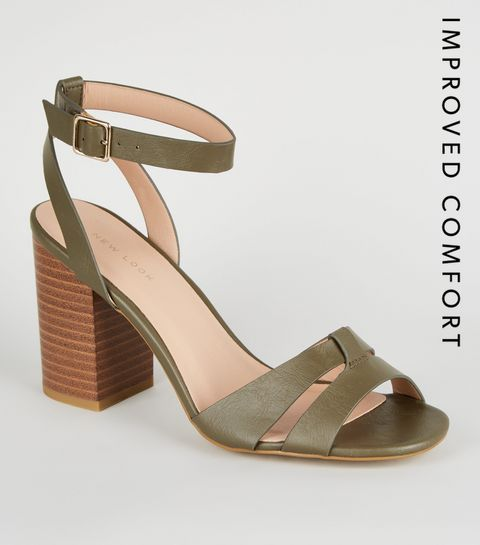 7686bc73c6f1 ... Khaki Leather-Look Block Heel Sandals ...