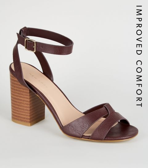 cdfcda71731d ... Dark Red Leather-Look Block Heel Sandals ...