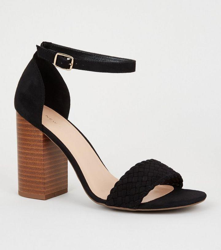 353d7457f5b Black Woven Strap Block Heel Sandals