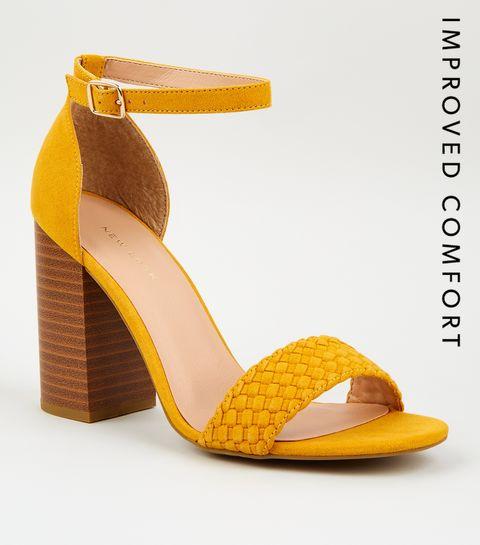 a0e1c7e5f5debe ... Mustard Woven Strap Block Heel Sandals ...