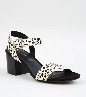 White Leather Spot Block Heel Sandals