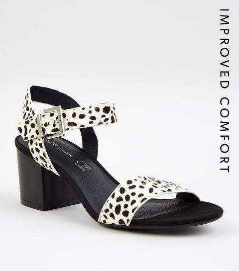 ... White Leather Spot Block Heel Sandals ...