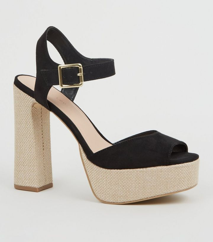 0c85db74512 Black Woven Platform Block Heel Sandals Add to Saved Items Remove from  Saved Items