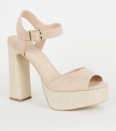 45dd2df2ce2 ... Nude Woven Platform Block Heel Sandals ...